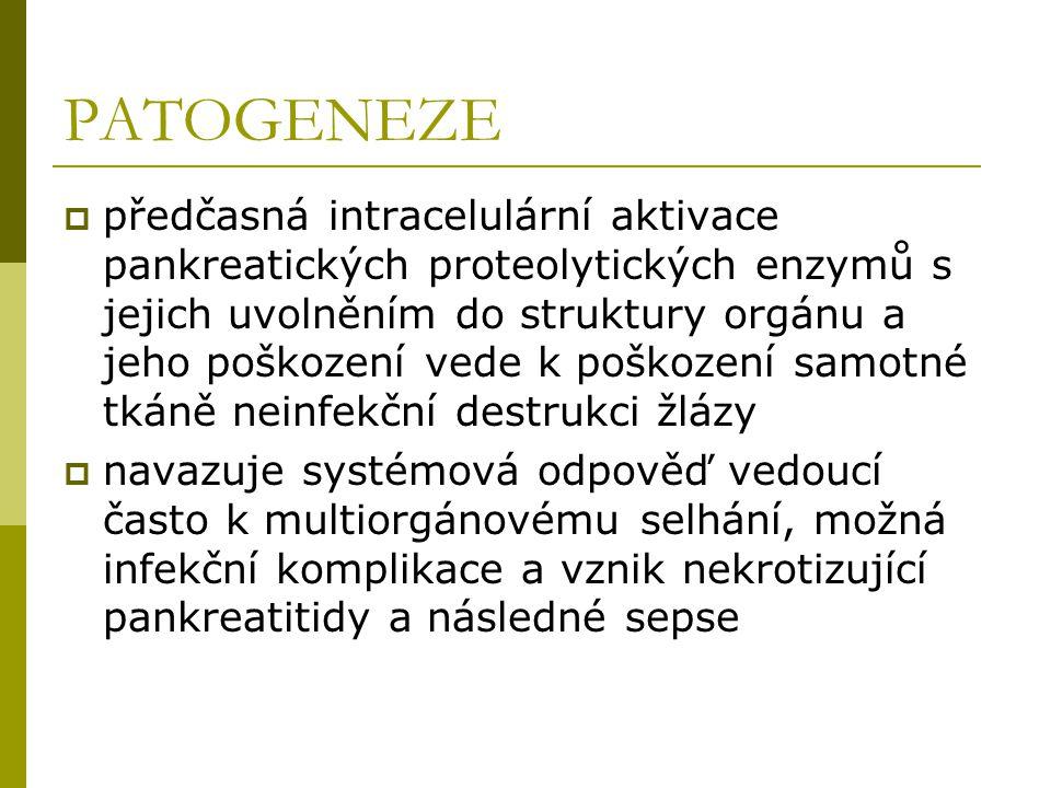 PATOGENEZE  předčasná intracelulární aktivace pankreatických proteolytických enzymů s jejich uvolněním do struktury orgánu a jeho poškození vede k po