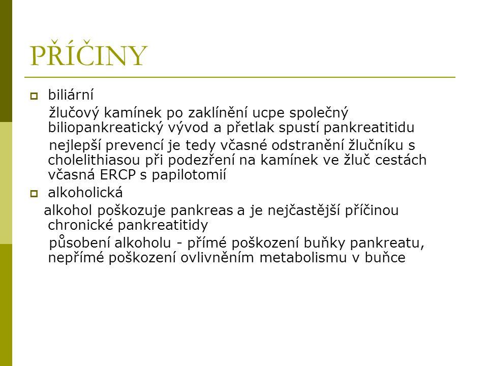 PŘÍČINY  idiopatická není zjištěna příčina vzniku akutní pankreatitidy cca u 20 %  polytraumata  poškození iatrogenně po ERCP  po operaci  poruchy prokrvení  toxické postižení  metabolické poruchy  léky  nádory  infekce