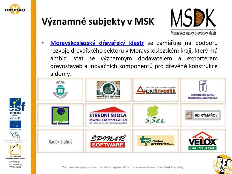 Významné subjekty v MSK Moravskoslezský dřevařský klastr se zaměřuje na podporu rozvoje dřevařského sektoru v Moravskoslezském kraji, který má ambici