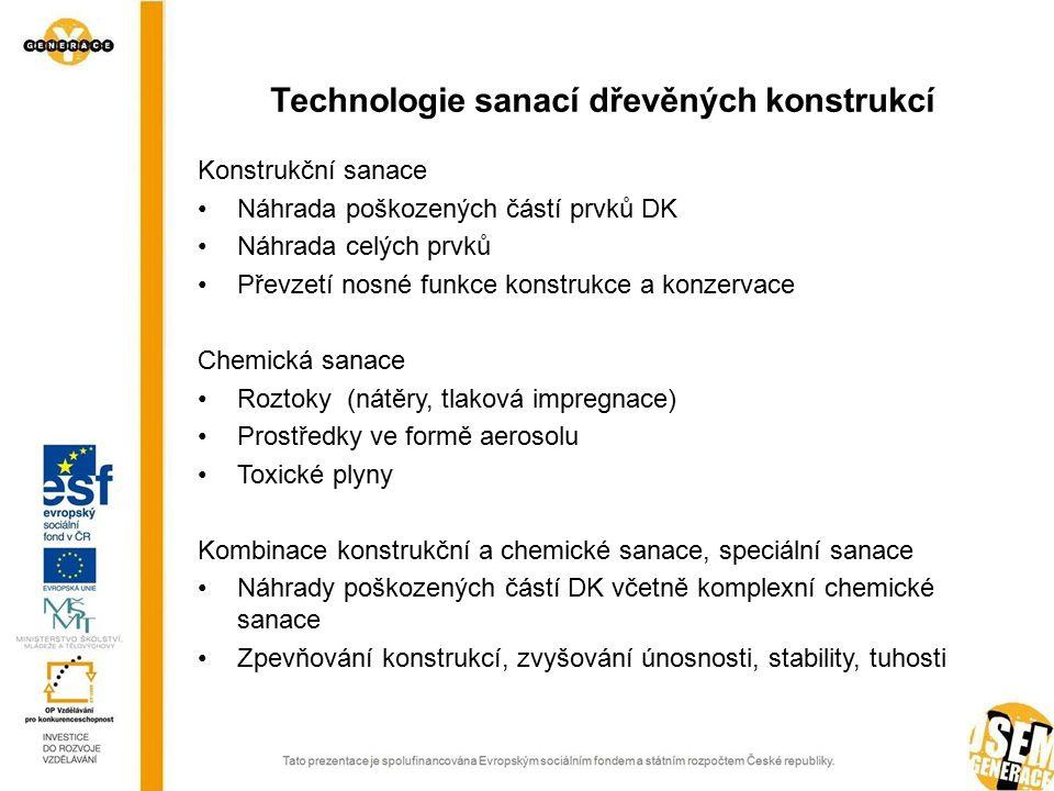 Konstrukční sanace Náhrada poškozených částí prvků DK Náhrada celých prvků Převzetí nosné funkce konstrukce a konzervace Chemická sanace Roztoky (nátě