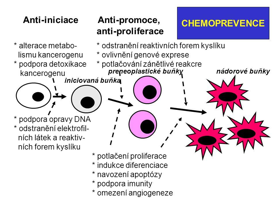 CHEMOPREVENCE VITAMINY: folát, vitamin E, D (membránové receptory) MINERÁLY: Ca, Se (selenomethionin) Látky z rostlin: diallylsulfid ( setrvání v G-fázi ), kurkumin, genistein (ze sóje: potlačuje ca-prostaty), indol-3-karbi- nol; isoflavonony, lykopen, polyfenon E ….
