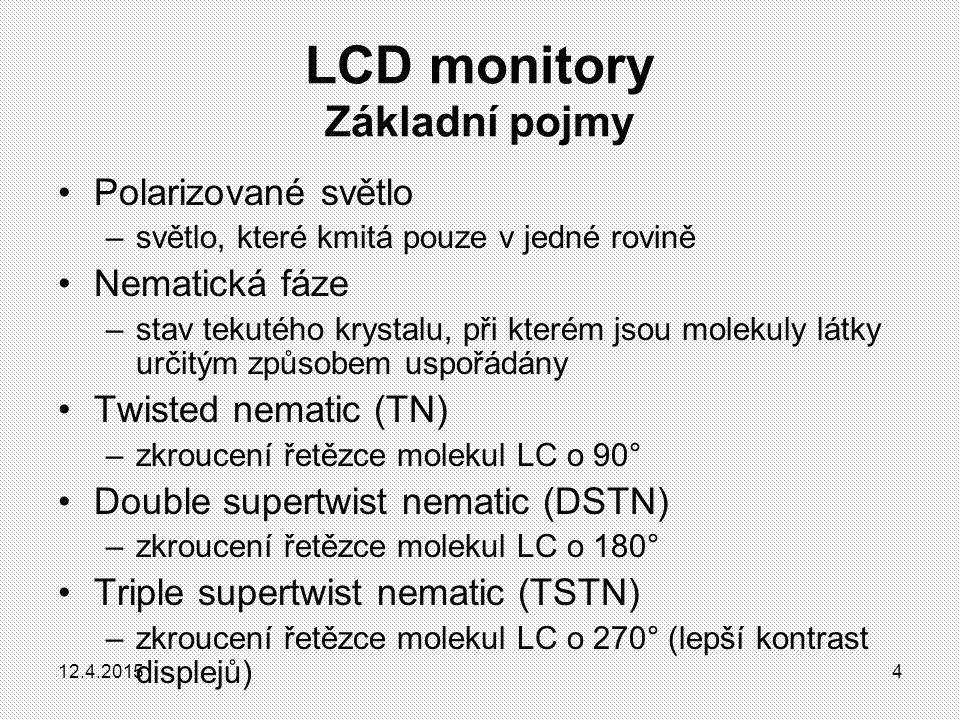 LCD monitory Princip funkce LCD displejů Obrázek znázorňuje jeden pixel s třemi subpixely 1.Zdroj bílého světla 2.První polarizační deska 3.Desky mezi kterými je elektrické pole; 4.Druhá polarizační deska 5.Jednotlivé polarizované paprsky světla 6.Tekuté krystaly 12.4.20155