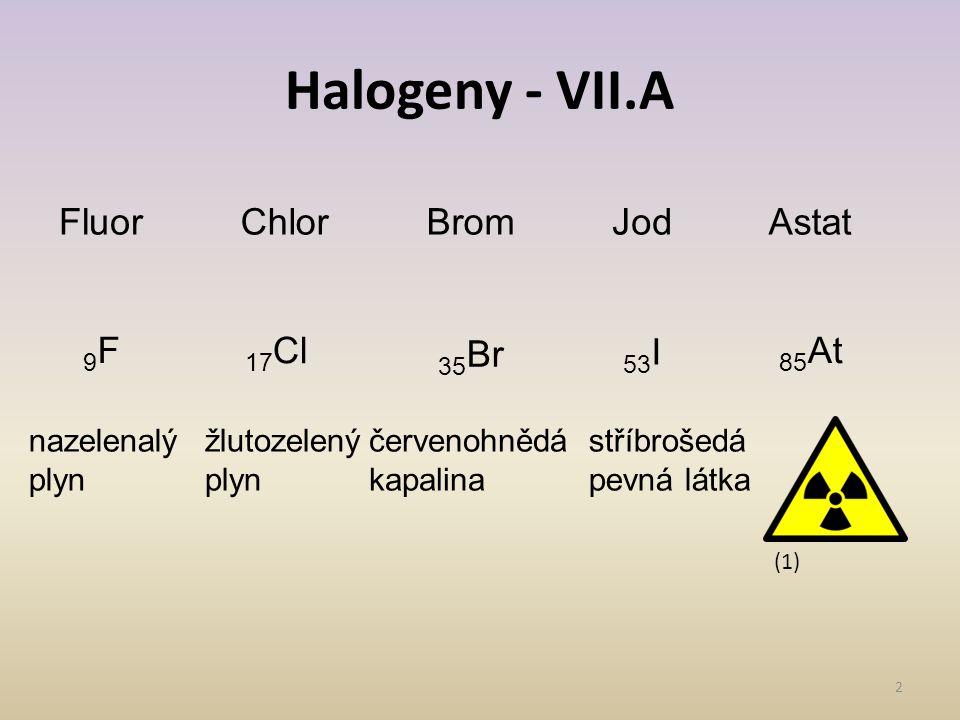 Halogeny - VII.A 2 FluorChlorBromJodAstat 9F9F 17 Cl 35 Br 53 I 85 At nazelenalý plyn žlutozelený plyn červenohnědá kapalina stříbrošedá pevná látka (