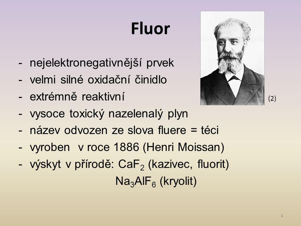 -nejelektronegativnější prvek -velmi silné oxidační činidlo -extrémně reaktivní -vysoce toxický nazelenalý plyn -název odvozen ze slova fluere = téci