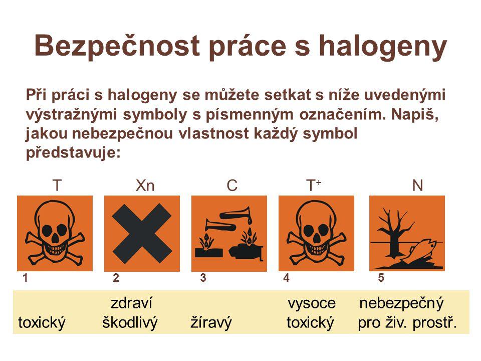 Bezpečnost práce s halogeny XnN Při práci s halogeny se můžete setkat s níže uvedenými výstražnými symboly s písmenným označením.
