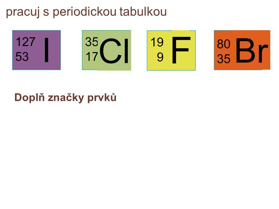 pracuj s periodickou tabulkou Doplň značky prvků I F Cl Br