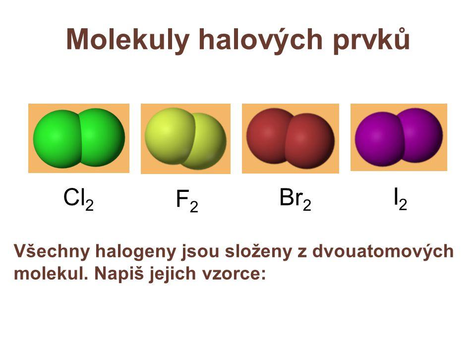 Molekuly halových prvků Všechny halogeny jsou složeny z dvouatomových molekul.