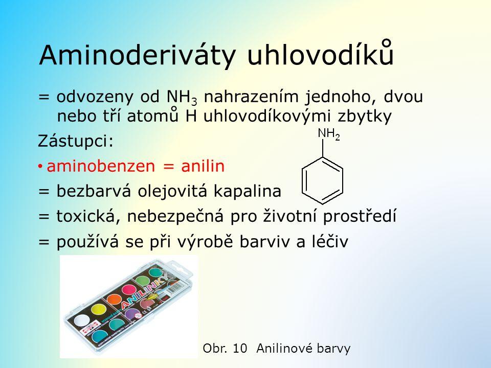 Aminoderiváty uhlovodíků = odvozeny od NH 3 nahrazením jednoho, dvou nebo tří atomů H uhlovodíkovými zbytky Zástupci: aminobenzen = anilin = bezbarvá