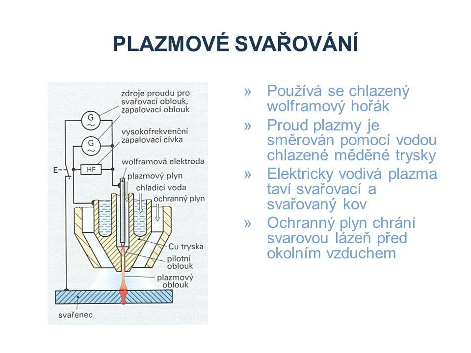 PLAZMOVÉ SVAŘOVÁNÍ II »Umožňuje svařovat tlusté plechy – malá svařovací spára »Malé množství přídavného materiálu »I bez přídavného materiálu »Speciálním plazmovým hořákem úzká spára, svařovat plechy 0,1 mm »Přídavný materiál – svařovací drát, kovový prášek »Plazmový plyn pro ocel – argon, helium, ochranný plyn – směs Ar a H 2