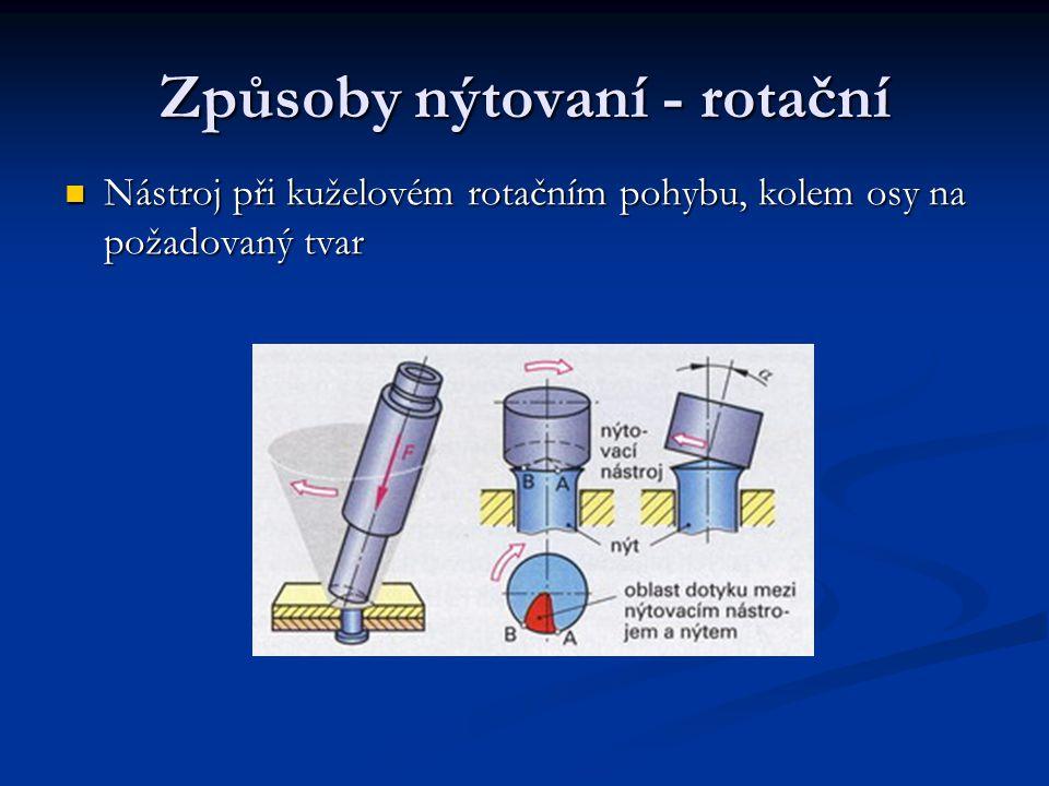 Způsoby nýtovaní - jednostranné Jednostranné nýty, používají se v případech, kdy je prostrčený nýt přístupný nástrojem z jedné strany Nýty jsou většinou hliníkové slitiny Použití nýtovacích kleští