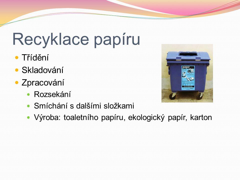 Recyklace papíru Třídění Skladování Zpracování Rozsekání Smíchání s dalšími složkami Výroba: toaletního papíru, ekologický papír, karton