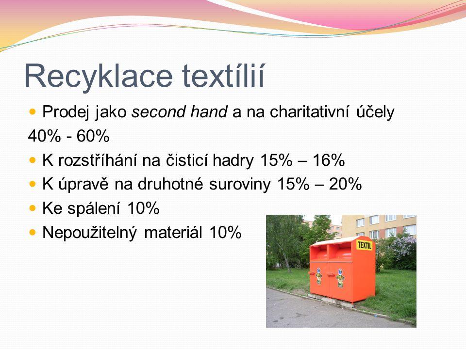 Recyklace textílií Prodej jako second hand a na charitativní účely 40% - 60% K rozstříhání na čisticí hadry 15% – 16% K úpravě na druhotné suroviny 15% – 20% Ke spálení 10% Nepoužitelný materiál 10%