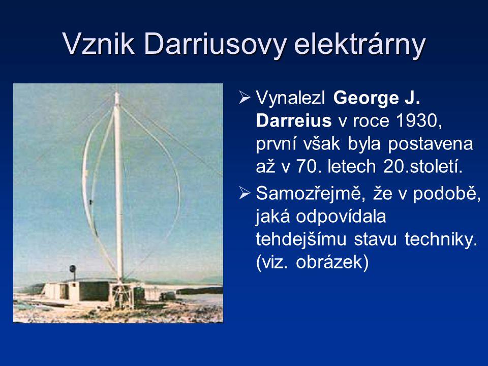 Vznik Darriusovy elektrárny   Vynalezl George J. Darreius v roce 1930, první však byla postavena až v 70. letech 20.století.   Samozřejmě, že v po