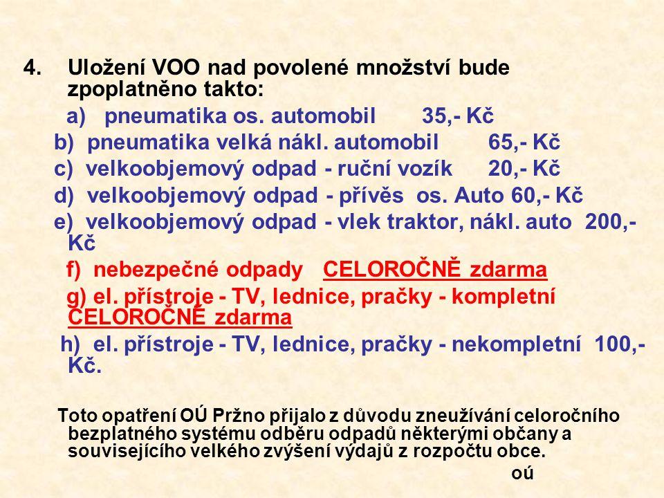 4.Uložení VOO nad povolené množství bude zpoplatněno takto: a) pneumatika os. automobil35,- Kč b) pneumatika velká nákl. automobil65,- Kč c) velkoobje