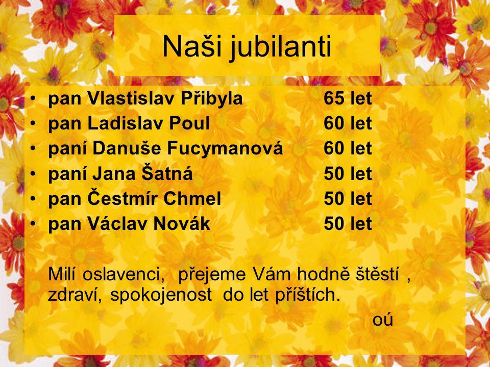 Naši jubilanti pan Vlastislav Přibyla65 let pan Ladislav Poul60 let paní Danuše Fucymanová60 let paní Jana Šatná50 let pan Čestmír Chmel50 let pan Vác