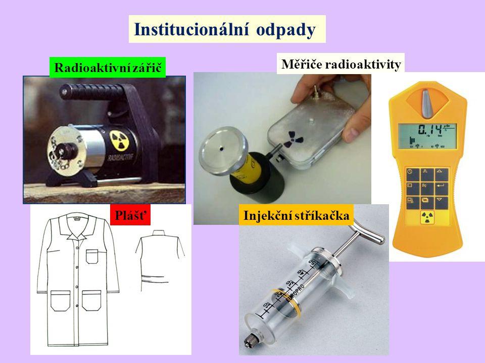 Institucionální odpady Radioaktivní zářič Měřiče radioaktivity Injekční stříkačkaPlášť