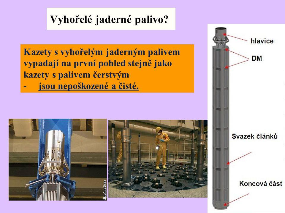 Vyhořelé jaderné palivo? Kazety s vyhořelým jaderným palivem vypadají na první pohled stejně jako kazety s palivem čerstvým - jsou nepoškozené a čisté
