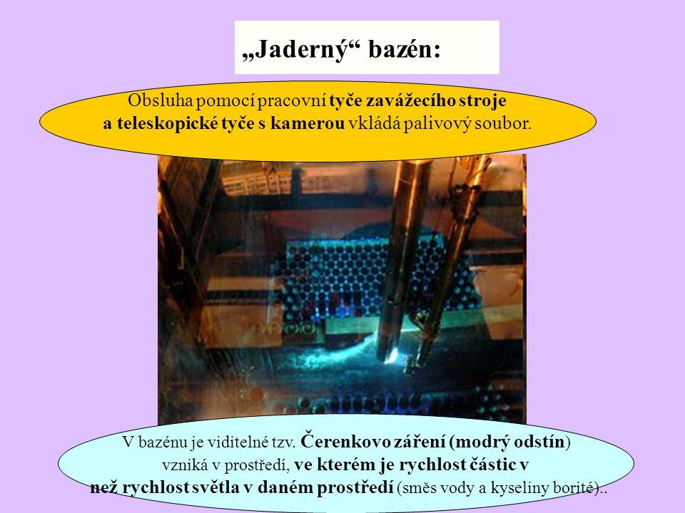 V bazénu je viditelné tzv. Čerenkovo záření (modrý odstín ) vzniká v prostředí, ve kterém je rychlost částic v než rychlost světla v daném prostředí (