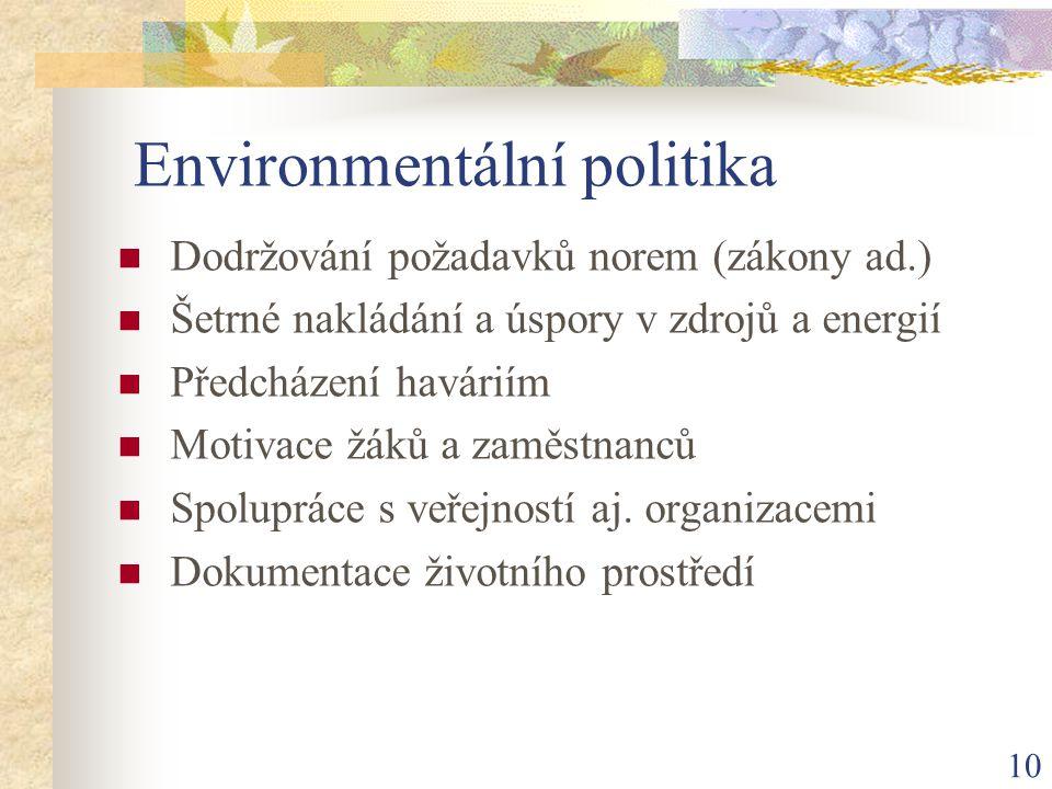 10 Environmentální politika Dodržování požadavků norem (zákony ad.) Šetrné nakládání a úspory v zdrojů a energií Předcházení haváriím Motivace žáků a zaměstnanců Spolupráce s veřejností aj.