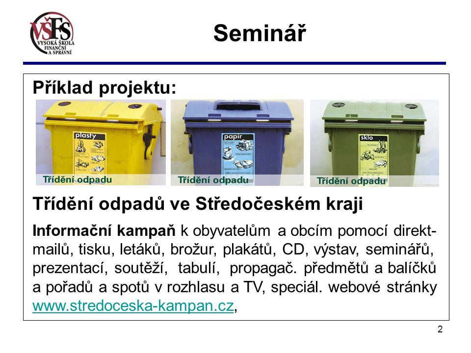 2 Příklad projektu: Třídění odpadů ve Středočeském kraji Informační kampaň k obyvatelům a obcím pomocí direkt- mailů, tisku, letáků, brožur, plakátů, CD, výstav, seminářů, prezentací, soutěží, tabulí, propagač.