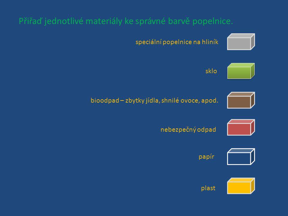 Jaký odpad nejčastěji třídíme? Vyjmenuj tři druhy materiálu, které se v českých domácnostech nejčastěji vyhazují do speciálních, barevných popelnic. P