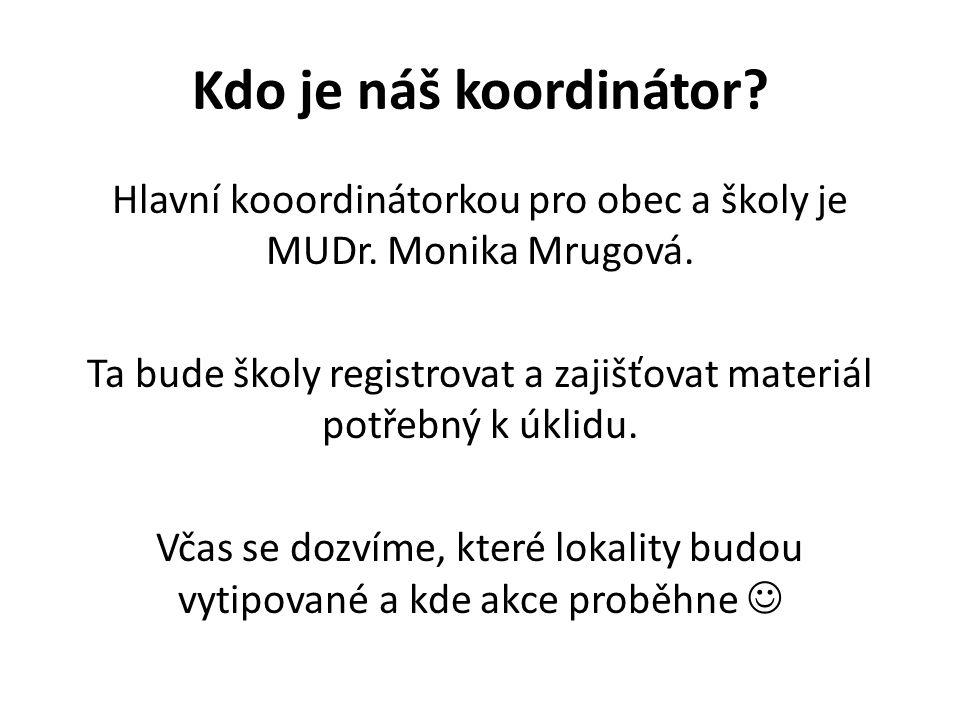 Kdo je náš koordinátor? Hlavní kooordinátorkou pro obec a školy je MUDr. Monika Mrugová. Ta bude školy registrovat a zajišťovat materiál potřebný k úk