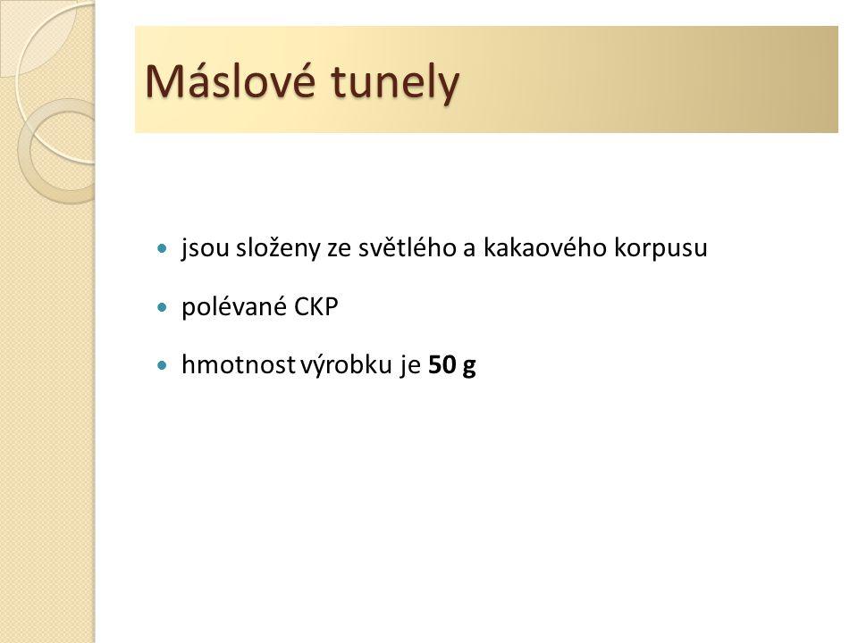 Máslové tunely jsou složeny ze světlého a kakaového korpusu polévané CKP hmotnost výrobku je 50 g