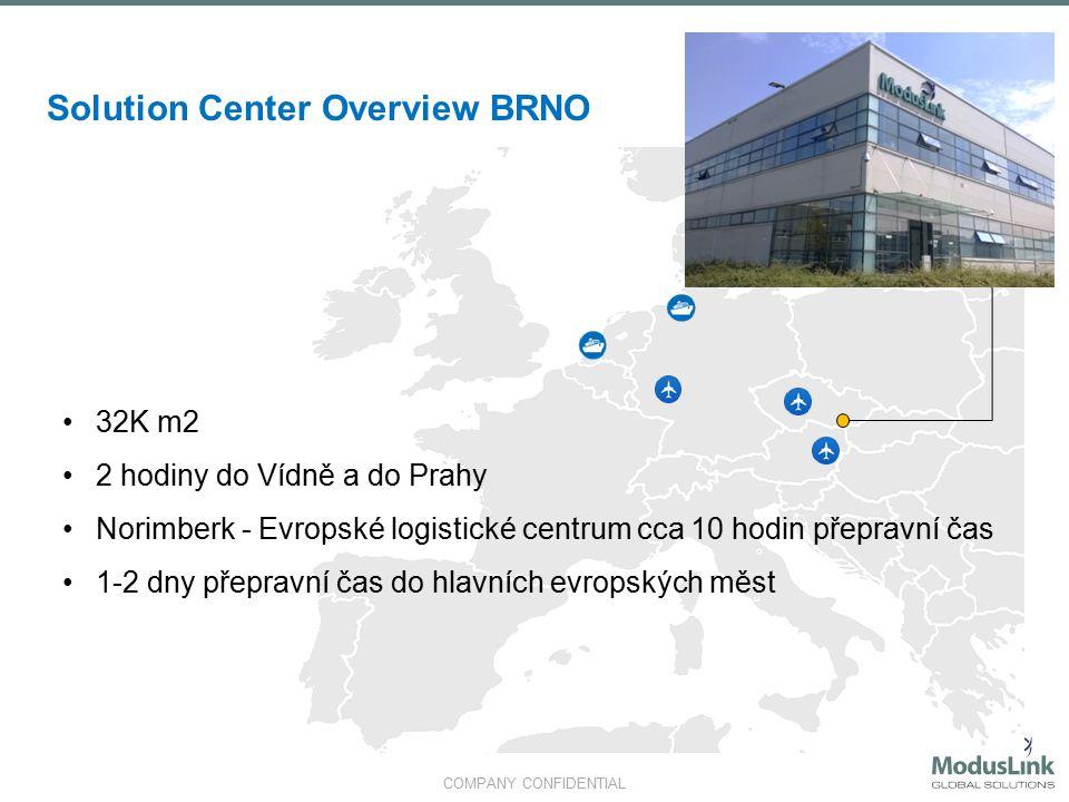 COMPANY CONFIDENTIAL Solution Center Overview BRNO 32K m2 2 hodiny do Vídně a do Prahy Norimberk - Evropské logistické centrum cca 10 hodin přepravní čas 1-2 dny přepravní čas do hlavních evropských měst