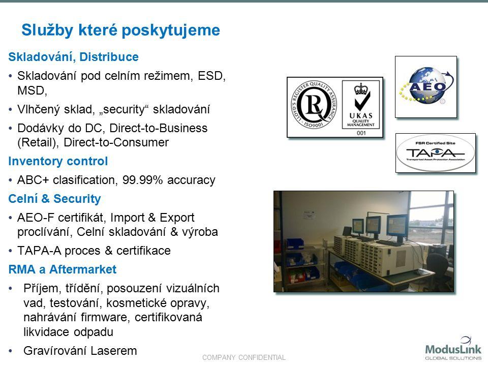COMPANY CONFIDENTIAL Rychlá fakta ČRNLIEFRRegion Evropa Roční objem odeslaných kusů 56.2M13.5M1.7M5.6M77M Roční objem vyrobených kusů39.8M9.6M2.1M4.7M56.2M Využívaná plocha (m2)32K16.8K13K4.6K66.5K Počet přímých zaměstnanců331354310419 Počet agenturních zaměstnanců700350100501200 Počet nepřímých zaměstanců217926819589 Počet zemí, do kterých expedujeme1308012380 Počet dodavatelů128 v 19 zemích116 v 18 zemích91 v 10 zemích29 v 6 zemích Počet PN, které organizujeme15 00011 00021 4002 60050 000 Certifikáty ISO 9001 11111 ISO 14001 11101 ISO 13485 10001 TAPA A 11001 AEO 11101 MSAR 10001 Sony Green Partner 10001 Lean and green award 01001 WEEE 10101 EICC 10101 Bonded WH and Bonded assy capabilities 11101