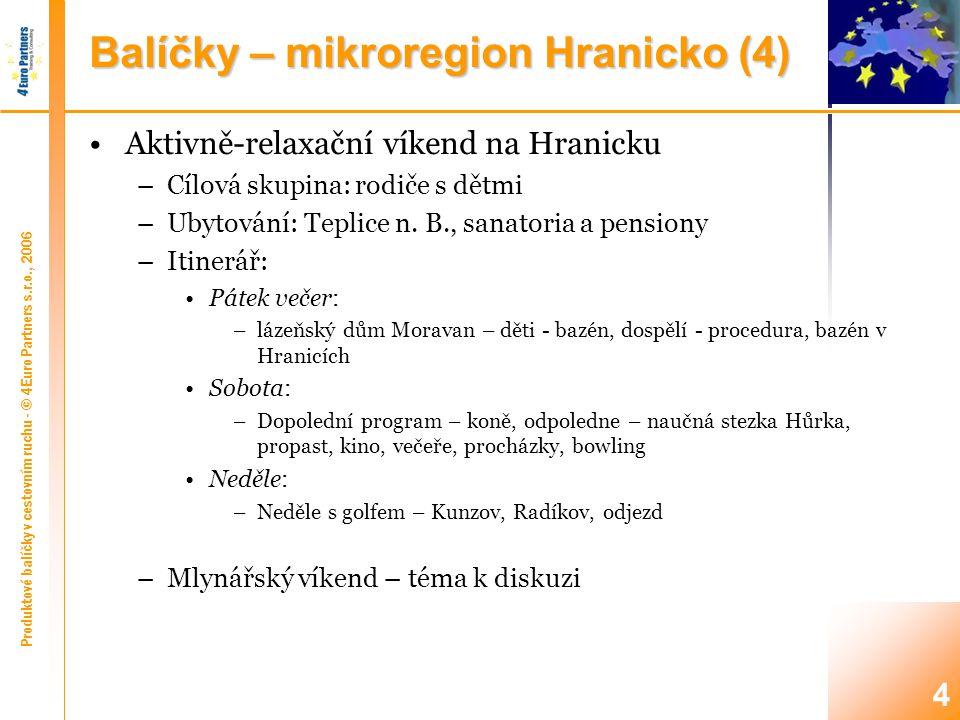 Produktové balíčky v cestovním ruchu - © 4Euro Partners s.r.o., 2006 4 Balíčky – mikroregion Hranicko (4) Aktivně-relaxační víkend na Hranicku –Cílová skupina: rodiče s dětmi –Ubytování: Teplice n.