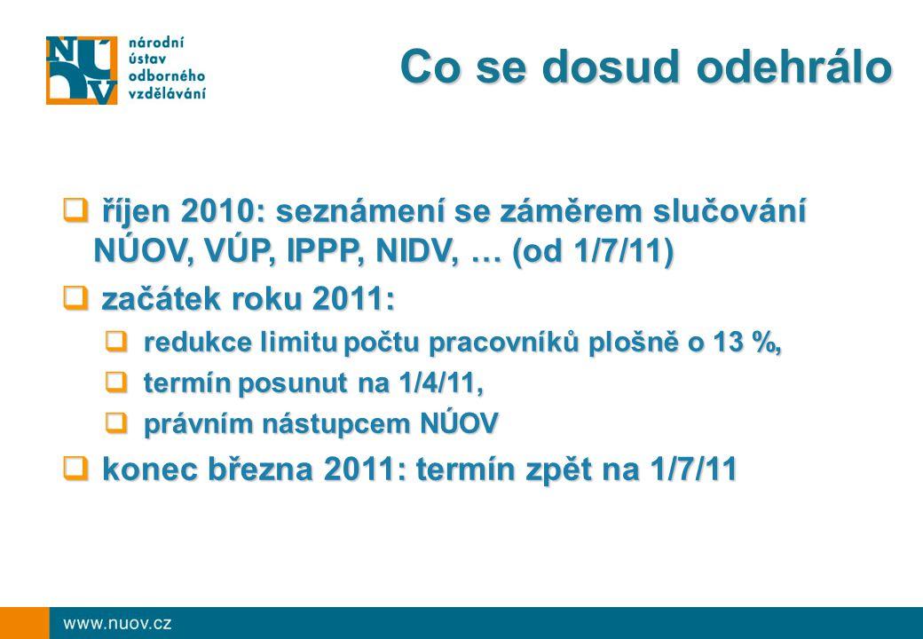 Co se dosud odehrálo  říjen 2010: seznámení se záměrem slučování NÚOV, VÚP, IPPP, NIDV, … (od 1/7/11)  začátek roku 2011:  redukce limitu počtu pracovníků plošně o 13 %,  termín posunut na 1/4/11,  právním nástupcem NÚOV  konec března 2011: termín zpět na 1/7/11