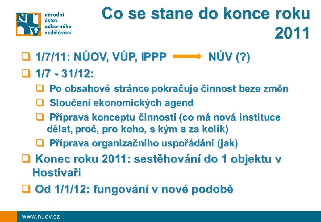 Co se stane do konce roku 2011  1/7/11: NÚOV, VÚP, IPPP NÚV ( )  1/7 - 31/12:  Po obsahové stránce pokračuje činnost beze změn  Sloučení ekonomických agend  Příprava konceptu činnosti (co má nová instituce dělat, proč, pro koho, s kým a za kolik)  Příprava organizačního uspořádání (jak)  Konec roku 2011: sestěhování do 1 objektu v Hostivaři  Od 1/1/12: fungování v nové podobě