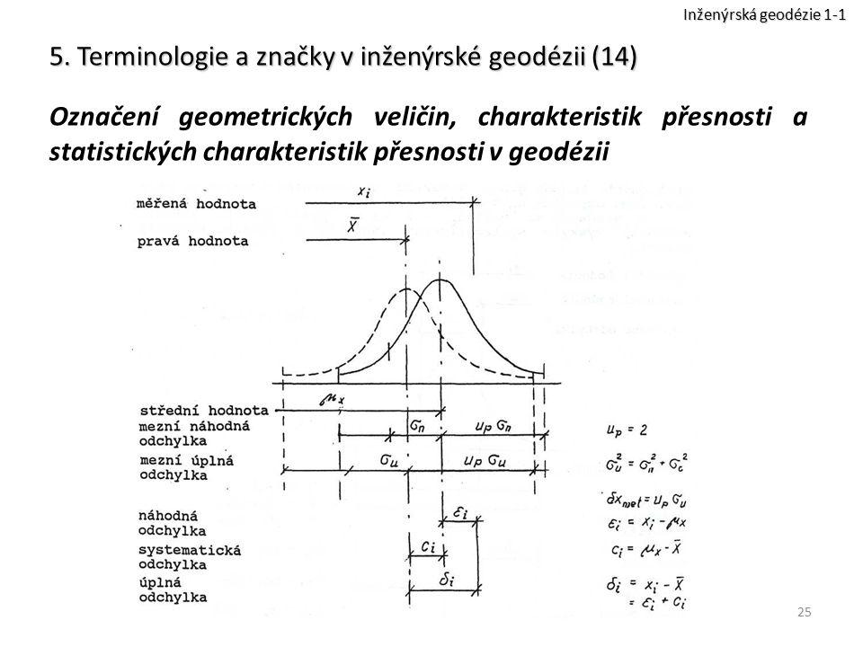 25 5. Terminologie a značky v inženýrské geodézii (14) Označení geometrických veličin, charakteristik přesnosti a statistických charakteristik přesnos