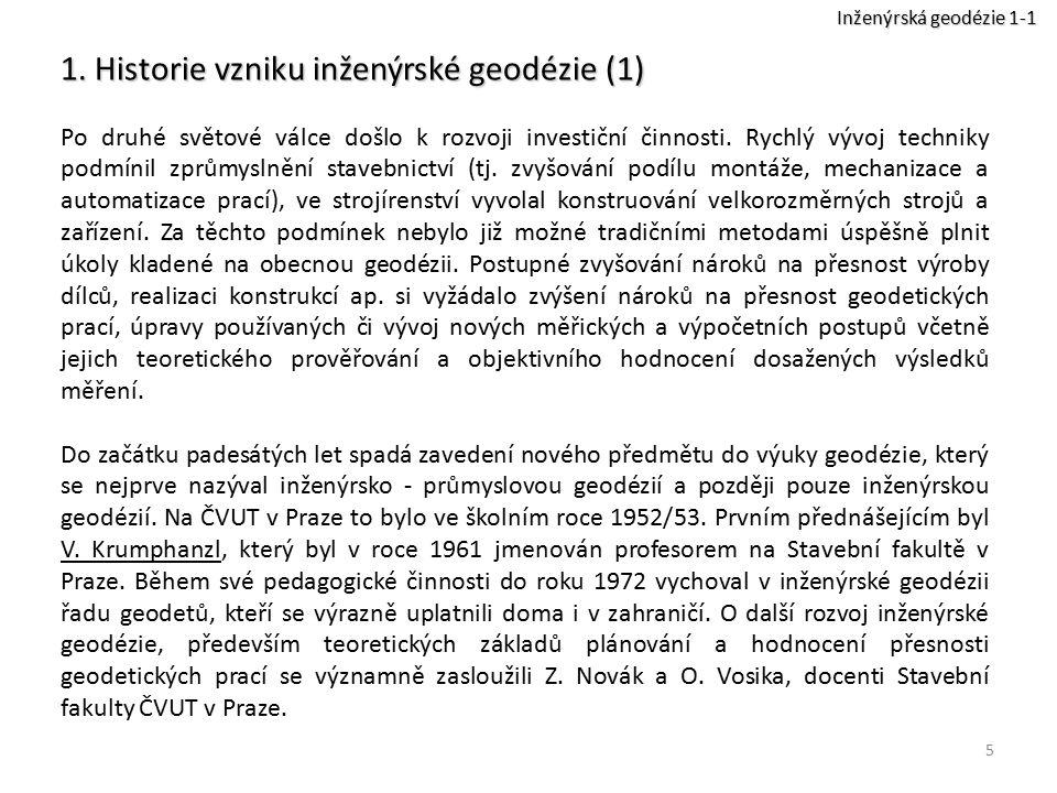 16 5.Terminologie a značky v inženýrské geodézii (5) Charakteristiky přesnosti Přesnost g.p.