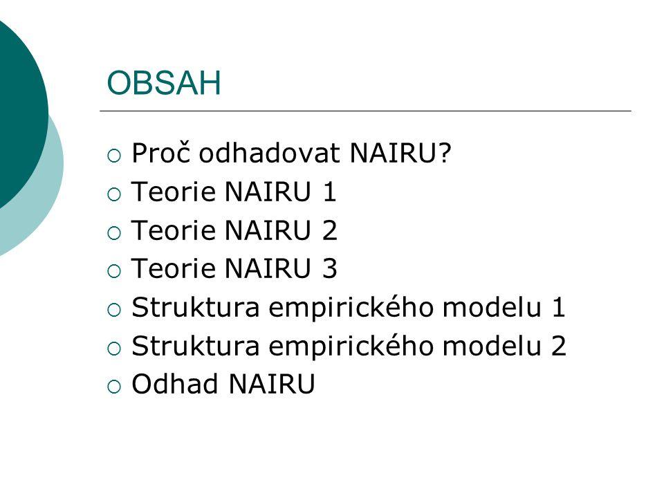 OBSAH  Proč odhadovat NAIRU.