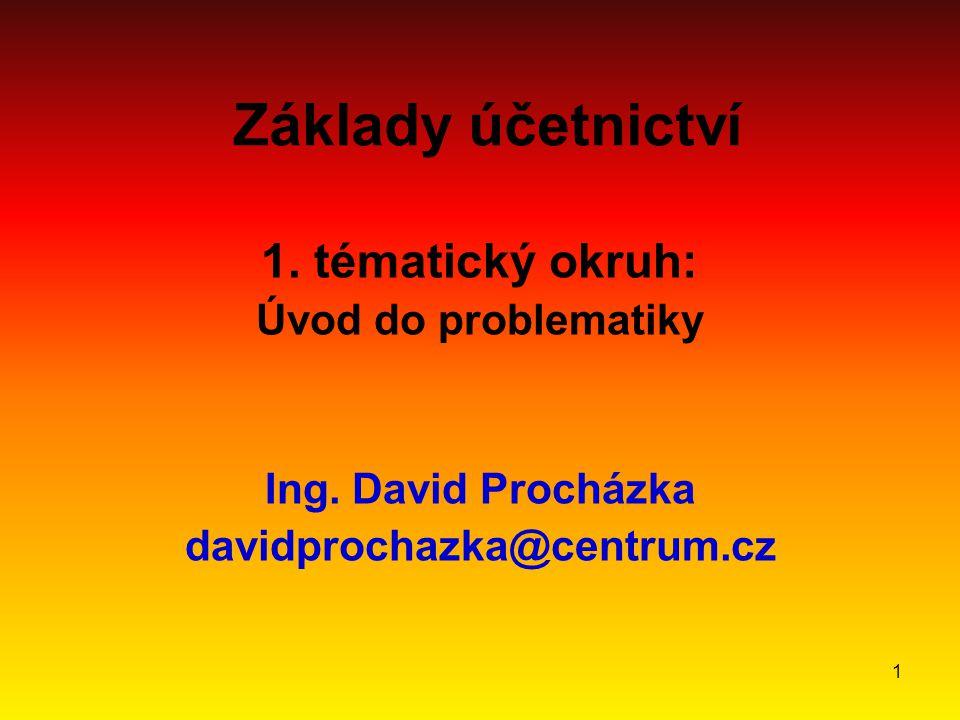 1 Základy účetnictví 1. tématický okruh: Úvod do problematiky Ing.