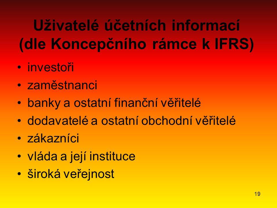 19 Uživatelé účetních informací (dle Koncepčního rámce k IFRS) investoři zaměstnanci banky a ostatní finanční věřitelé dodavatelé a ostatní obchodní věřitelé zákazníci vláda a její instituce široká veřejnost