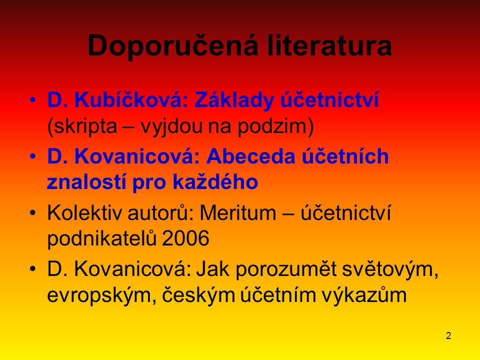 2 Doporučená literatura D. Kubíčková: Základy účetnictví (skripta – vyjdou na podzim) D.