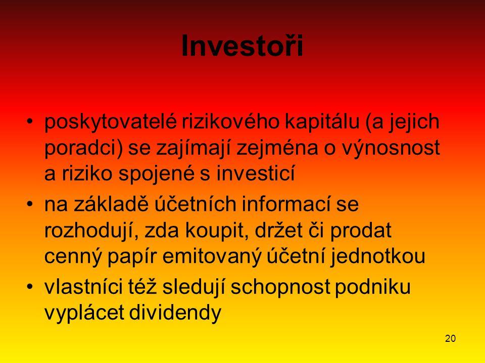 20 Investoři poskytovatelé rizikového kapitálu (a jejich poradci) se zajímají zejména o výnosnost a riziko spojené s investicí na základě účetních informací se rozhodují, zda koupit, držet či prodat cenný papír emitovaný účetní jednotkou vlastníci též sledují schopnost podniku vyplácet dividendy