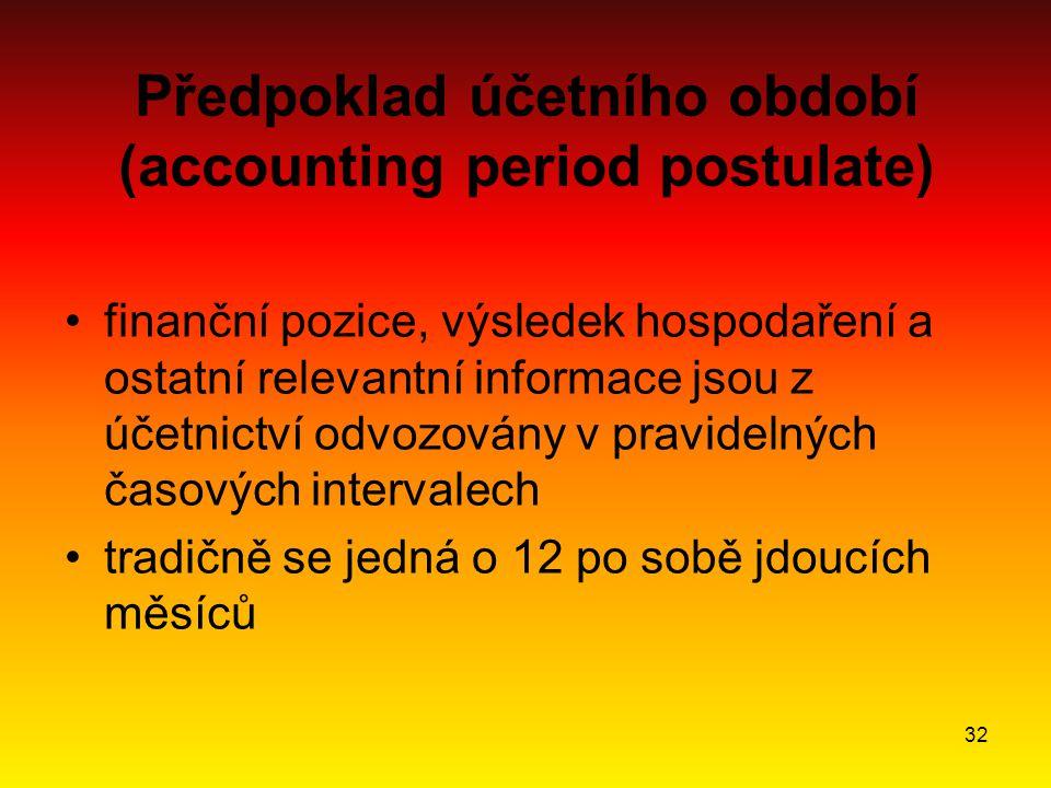 32 Předpoklad účetního období (accounting period postulate) finanční pozice, výsledek hospodaření a ostatní relevantní informace jsou z účetnictví odvozovány v pravidelných časových intervalech tradičně se jedná o 12 po sobě jdoucích měsíců