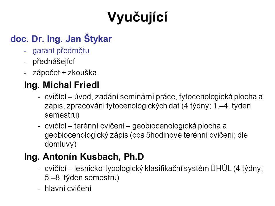 Vyučující doc.Dr. Ing. Jan Štykar -garant předmětu -přednášející -zápočet + zkouška Ing.