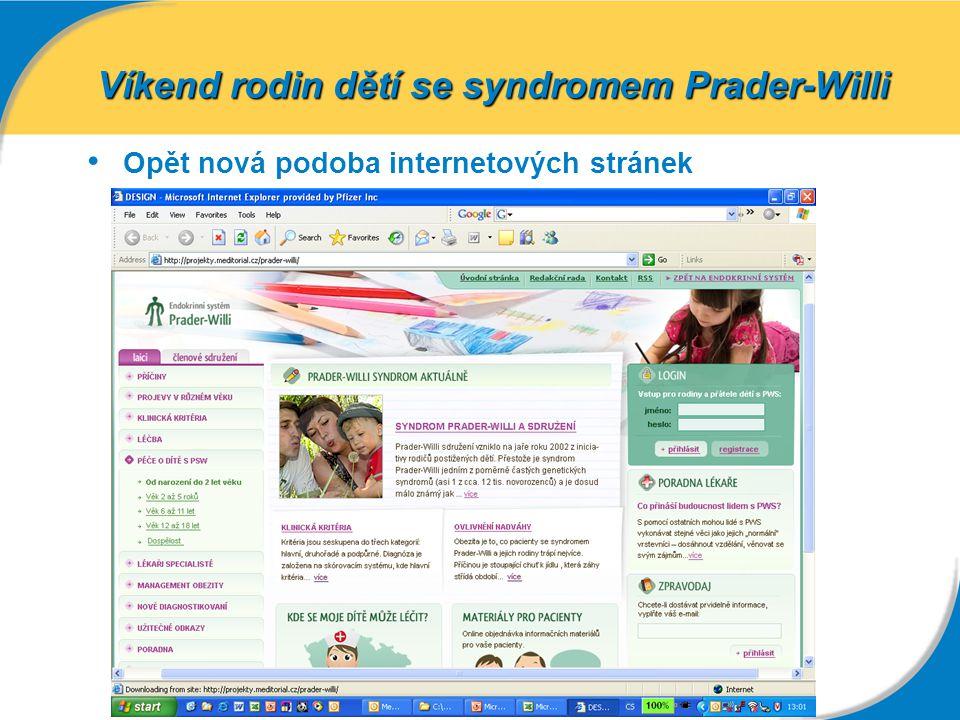 Opět nová podoba internetových stránek Víkend rodin dětí se syndromem Prader-Willi