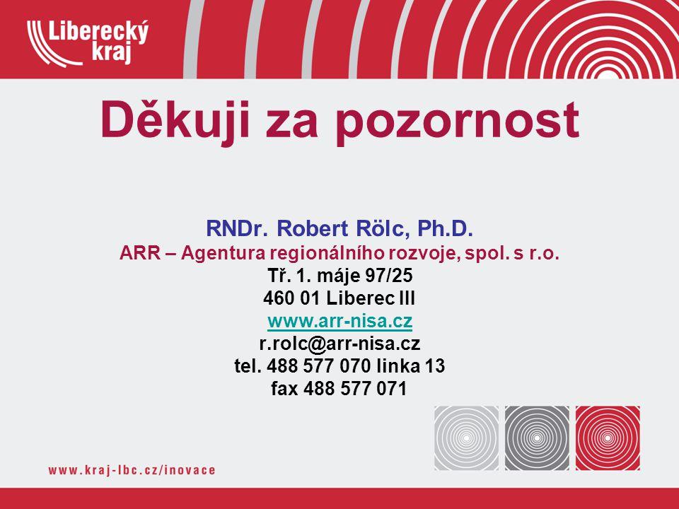 Děkuji za pozornost RNDr. Robert Rölc, Ph.D. ARR – Agentura regionálního rozvoje, spol. s r.o. Tř. 1. máje 97/25 460 01 Liberec III www.arr-nisa.cz r.
