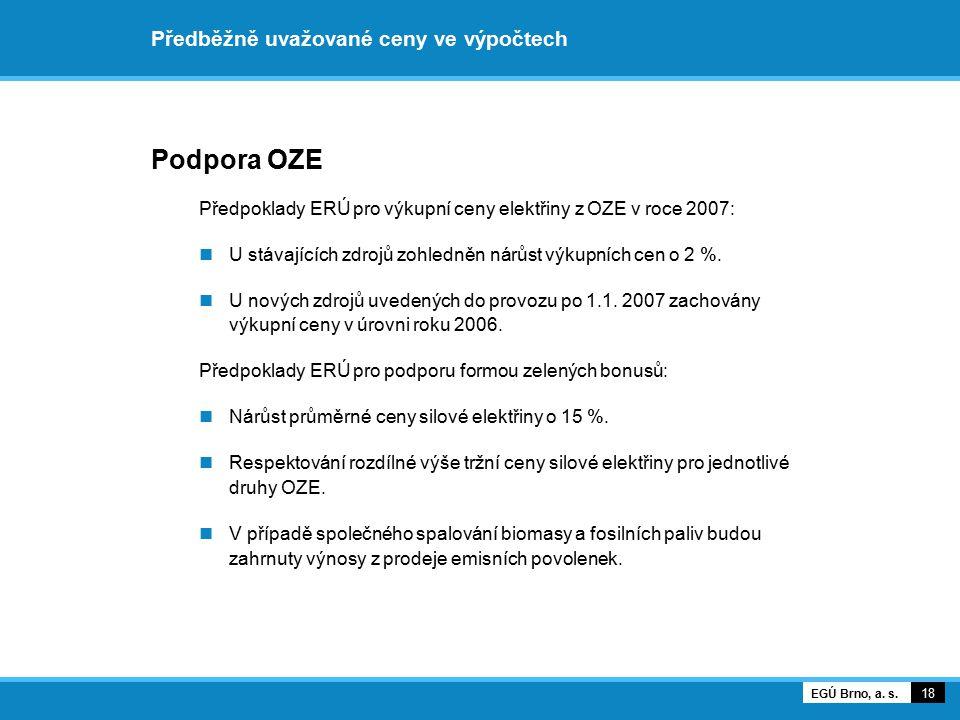 Předběžně uvažované ceny ve výpočtech Podpora OZE U malých vodních elektráren ERÚ navrhuje odstranění vysokého/nízkého tarifu: Smyslem zákona č.
