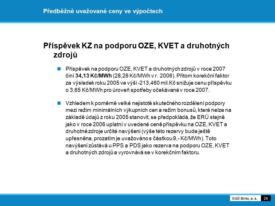 Předběžně uvažované ceny ve výpočtech 25 EGÚ Brno, a. s.