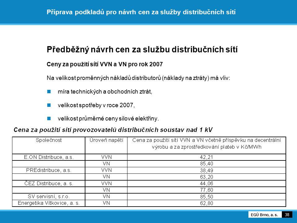 Příprava podkladů pro návrh cen za služby distribučních sítí Předběžný návrh cen za službu distribučních sítí Vývoj průměrných cen za použití sítí VVN a VN 39 EGÚ Brno, a.