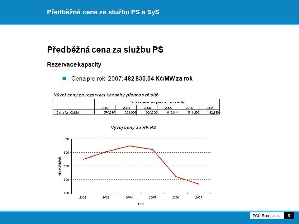 Předběžná cena za službu PS a SyS Předběžná cena za službu PS Rezervace kapacity Podíl společností na platbě za rezervaci kapacity v roce 2007 7 EGÚ Brno, a.