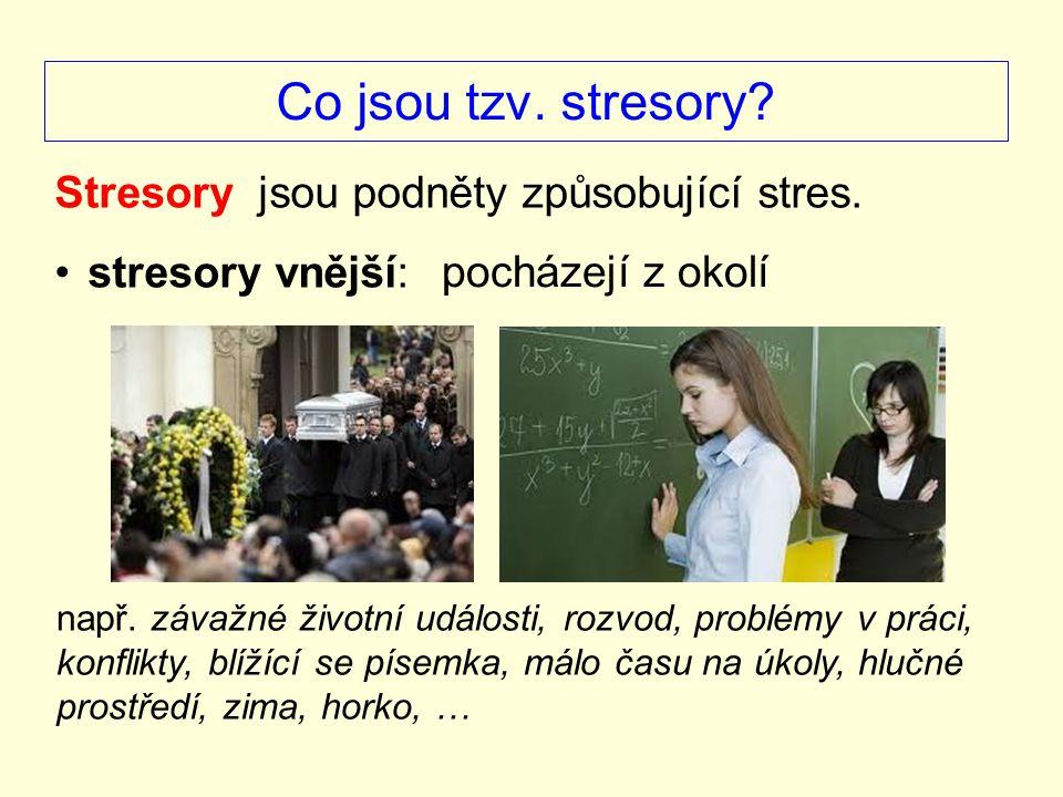Co jsou tzv.stresory. Stresory jsou podněty způsobující stres.