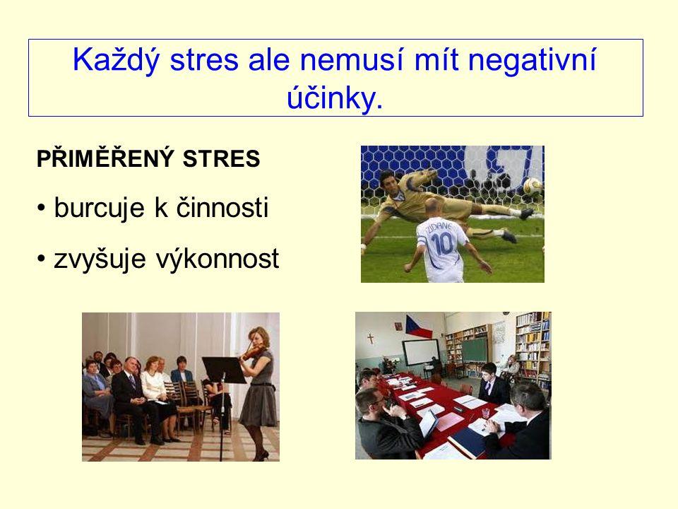 Pokud je míra stresu překročena dostavuje se stresová reakce…ve formě: agrese – výhružné postoje, gesta, někdy až útok toxikomanická reakce – alkohol, drogy autistická reakce – uzavření se do sebe Deprese je stresová reakce na vyšší úrovni (hlubší, silnější, déle trvající )