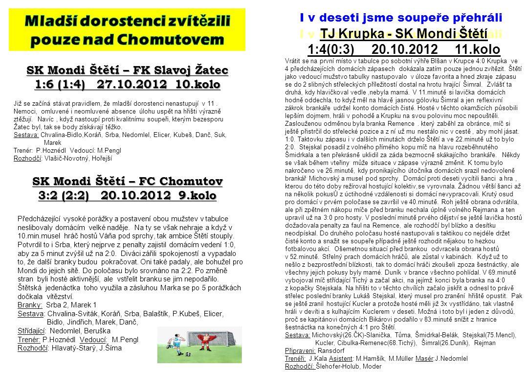 SK Mondi Štětí – FK Slavoj Žatec 1:6 (1:4) 27.10.2012 10.kolo Již se začíná stávat pravidlem, že mladší dorostenci nenastupují v 11.